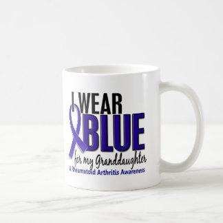 I Wear Blue Granddaughter 10 Rheumatoid Arthritis Basic White Mug