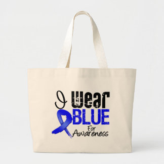 I Wear Blue Ribbon For Colon Cancer Awareness Canvas Bag