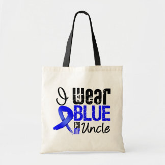 I Wear Blue Ribbon For My Uncle - Colon Cancer Budget Tote Bag