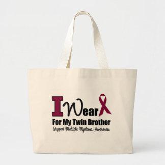 I Wear Burgundy Ribbon For Twin Brother Jumbo Tote Bag