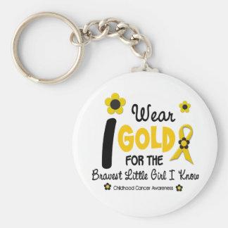 I Wear Gold For Bravest Girl 12 FLOWER VERSION Key Ring