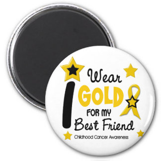 I Wear Gold For My Best Friend 12 STARS 6 Cm Round Magnet