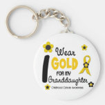 I Wear Gold For My Granddaughter 12 FLOWER VERSION Basic Round Button Key Ring