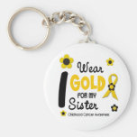 I Wear Gold For My Sister 12 FLOWER VERSION Basic Round Button Key Ring