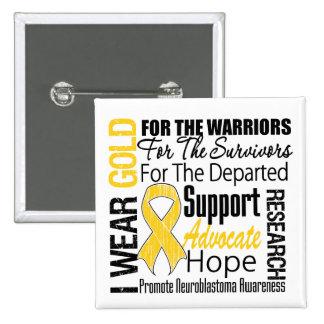 I Wear Gold Ribbon Collage Tribute Neuroblastoma Pinback Button