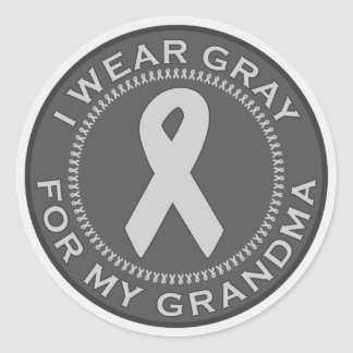 I Wear Gray For My Grandma Classic Round Sticker