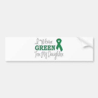 I Wear Green For My Daughter (Green Ribbon) Bumper Sticker