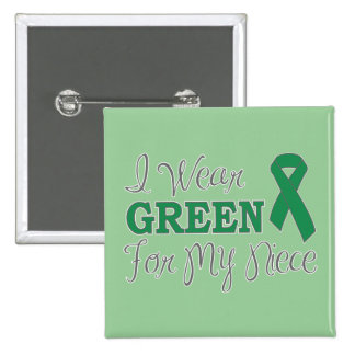 I Wear Green For My Niece (Green Awareness Ribbon) 15 Cm Square Badge