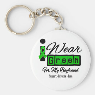 I Wear Green Ribbon (Retro) - Boyfriend Basic Round Button Key Ring