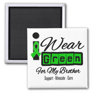 I Wear Green Ribbon (Retro) - Brother Square Magnet