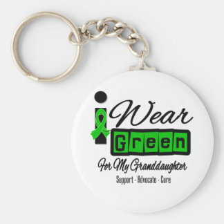 I Wear Green Ribbon (Retro) - Granddaughter Basic Round Button Key Ring