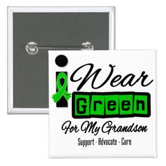I Wear Green Ribbon (Retro) - Grandson 15 Cm Square Badge