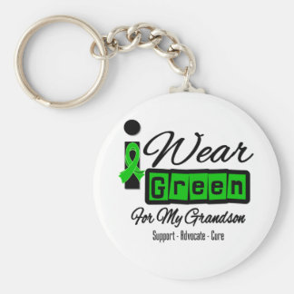 I Wear Green Ribbon (Retro) - Grandson Basic Round Button Key Ring