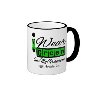 I Wear Green Ribbon (Retro) - Grandson Ringer Mug