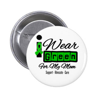 I Wear Green Ribbon (Retro) - Mom Pin
