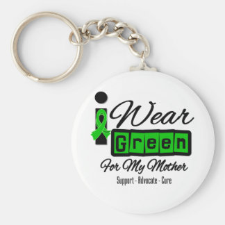 I Wear Green Ribbon (Retro) - Mother Basic Round Button Key Ring