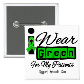 I Wear Green Ribbon (Retro) - Patients 15 Cm Square Badge