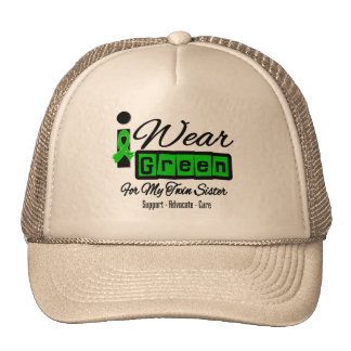 I Wear Green Ribbon (Retro) - Twin Sister Mesh Hats