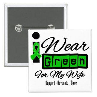 I Wear Green Ribbon (Retro) - Wife Button