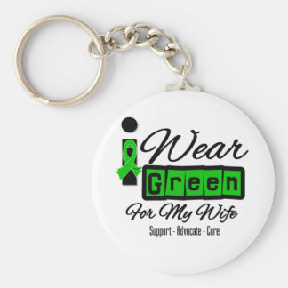 I Wear Green Ribbon (Retro) - Wife Basic Round Button Key Ring