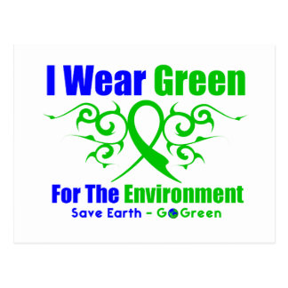 I Wear Green Tribal Ribbon For The Environment Postcard