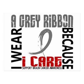 I Wear Grey Because I Care 46 Brain Cancer Postcard