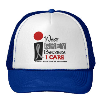 I Wear Grey Because I Care 9 BRAIN CANCER Cap