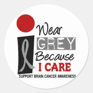 I Wear Grey Because I Care 9 BRAIN CANCER Round Sticker