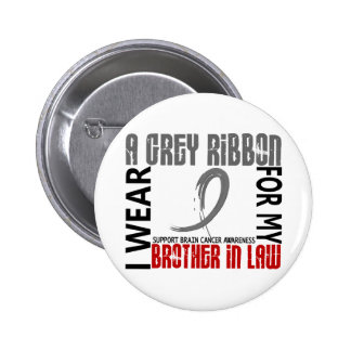 I Wear Grey For My Brother-In-Law 46 Brain Cancer 6 Cm Round Badge