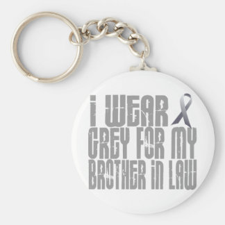 I Wear Grey For My BROTHERINLAW 16 Basic Round Button Key Ring