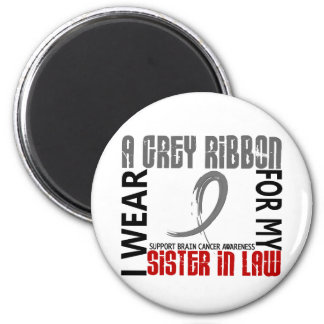 I Wear Grey For My Sister-In-Law 46 Brain Cancer 6 Cm Round Magnet