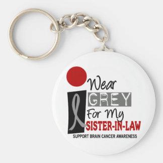 I Wear Grey For My Sister-In-Law 9 BRAIN CANCER Keychain