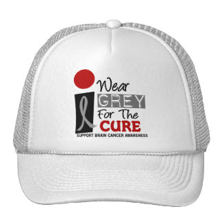 I Wear Grey For The Cure 9 BRAIN CANCER Trucker Hat