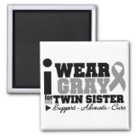 I Wear Grey Ribbon For My Twin Sister Square Magnet