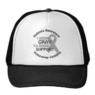 I Wear Grey To Show Support Diabetes Awareness Trucker Hats