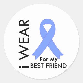 I Wear Light Blue Best Friend Prostate Cancer Round Sticker