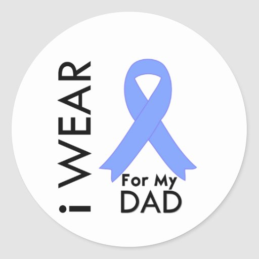 I Wear Light Blue For My Dad - Prostate Cancer Round Stickers