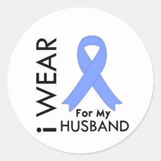 I Wear Light Blue For My Husband - Prostate Cancer Round Sticker