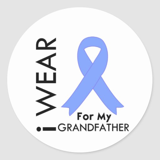 I Wear Light Blue (Grandfather)  Prostate Cancer Stickers