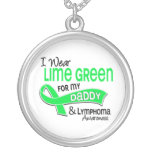 I Wear Lime Green 42 Daddy Lymphoma Round Pendant Necklace