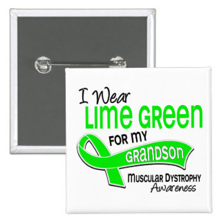 I Wear Lime Green 42 Grandson Muscular Dystrophy 15 Cm Square Badge