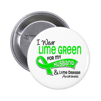 I Wear Lime Green 42 Husband Lyme Disease 6 Cm Round Badge