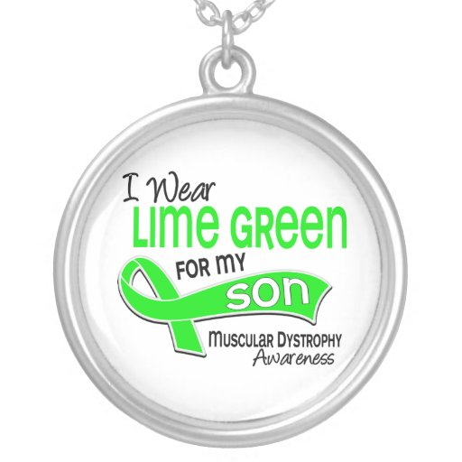 I Wear Lime Green 42 Son Muscular Dystrophy Round Pendant Necklace