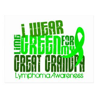 I Wear Lime Green For Great Grandpa 6.4 Lymphoma Postcard