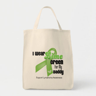 I Wear Lime Green For My Daddy - Lymphoma Canvas Bags