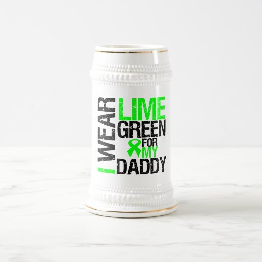 I Wear Lime Green Ribbon For My Daddy Lymphoma Mugs