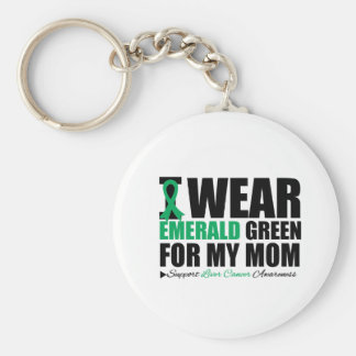 I Wear Liver Cancer Ribbon For My Mom Basic Round Button Key Ring