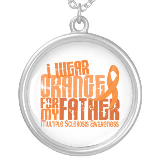 I Wear Orange Father 6.4 Multiple Sclerosis MS Silver Plated Necklace