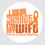 I Wear Orange For Wife 6.4 MS Multiple Sclerosis Round Stickers