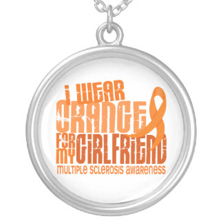 I Wear Orange Girlfriend 6.4 MS Multiple Sclerosis Round Pendant Necklace